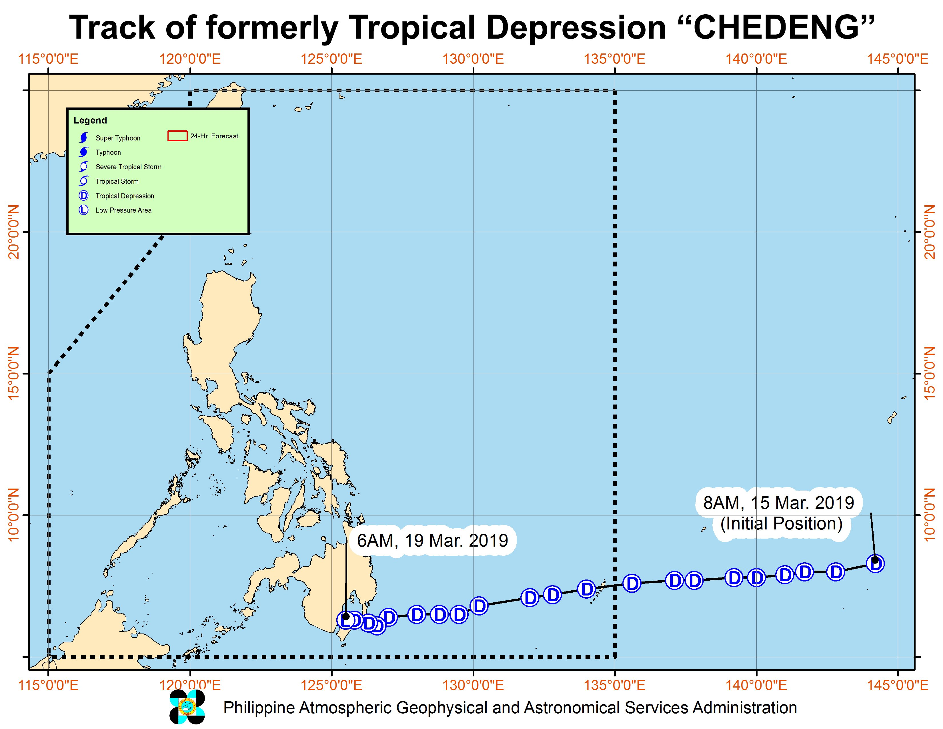 Forecast track of the low pressure area which used to be Tropical Depression Chedeng, as of March 19, 2019, 8 am. Image from PAGASA