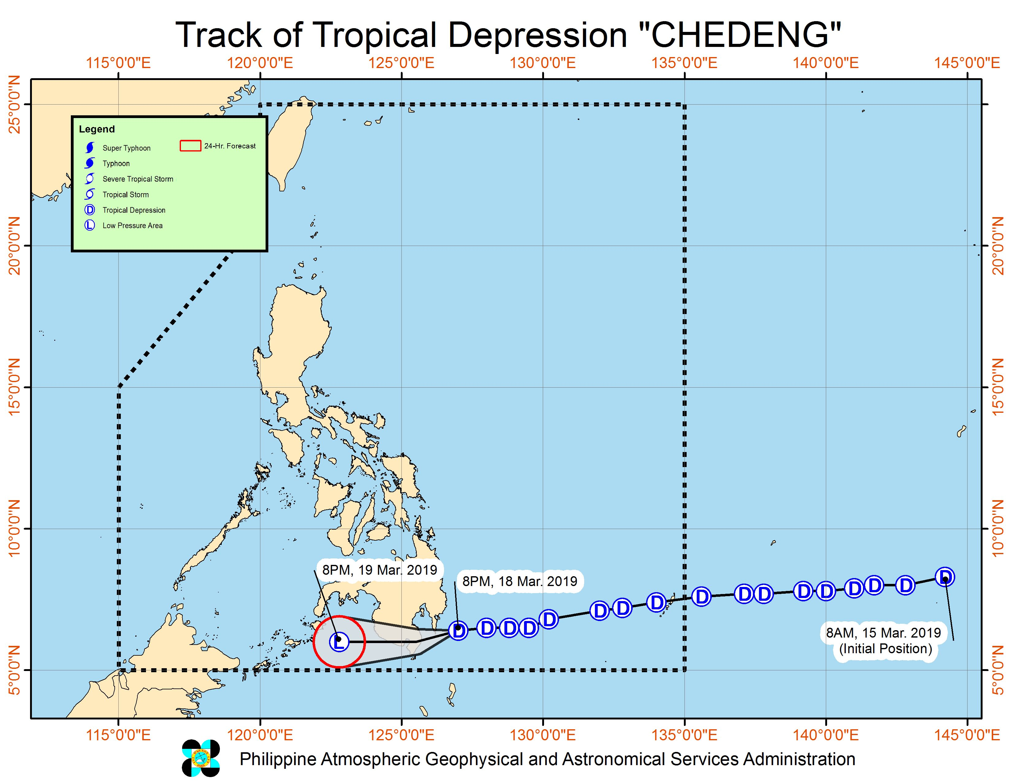 Forecast track of Tropical Depression Chedeng as of March 18, 2019, 11 pm. Image from PAGASA