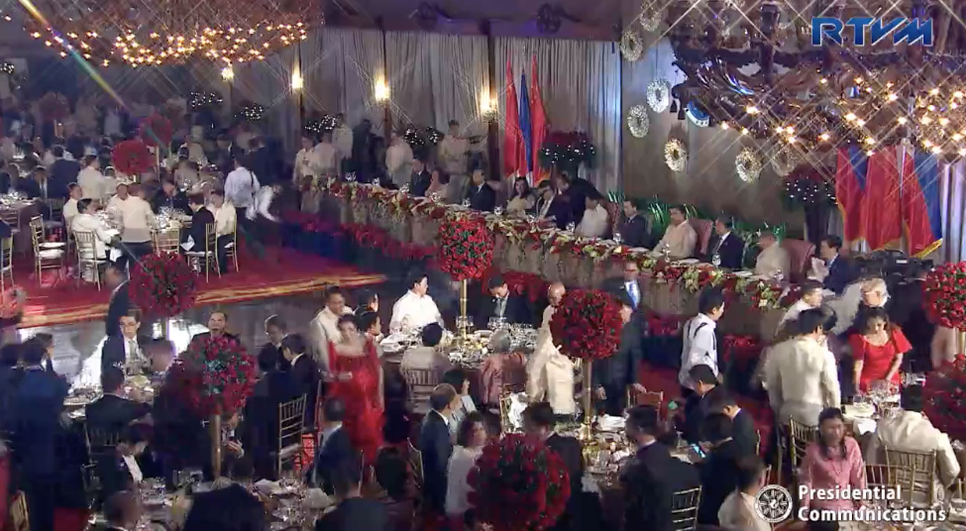 GLITTERING AFFAIR. Rizal Hall is decked in red for the state banquet. Screenshot from RVTM