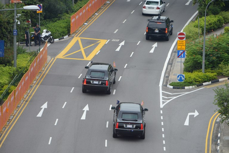 ON THE WAY. The motorcade carrying US President Donald Trump sets up for Sentosa, the resort island where Trump is scheduled to meet with North Korea's leader Kim Jong Un for a US-North Korea summit, in Singapore on June 12, 2018. Photo by Ted Aljibe/AFP