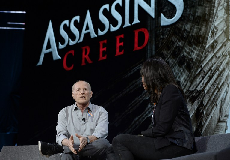 BIG SCREEN. 'Assassin's Creed' film producer Frank Marshall talks with actress and host Aisha Tyler during an Ubisoft news conference before the start of E3 in Los Angeles, California on June 13, 2016. Photo by Kevork Djansezian/Getty Images/AFP