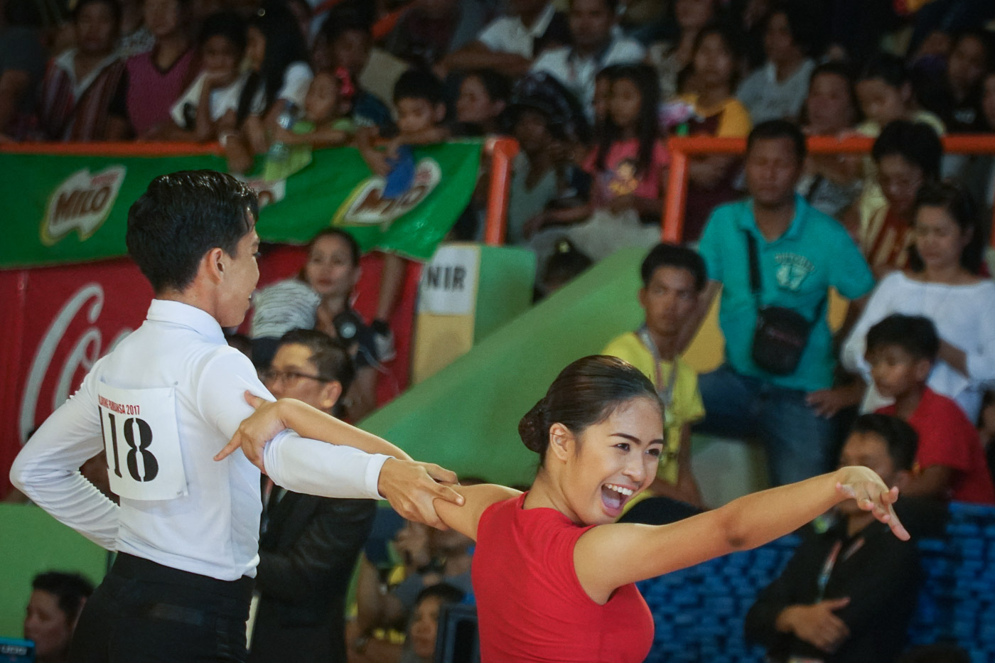 CONFIDENT. Representatives from Region VI, Heather Angelique Parangan and Mark Leo Layson, compete in the Junior Latin American Category. Photo by Andrea Pefianco/Rappler