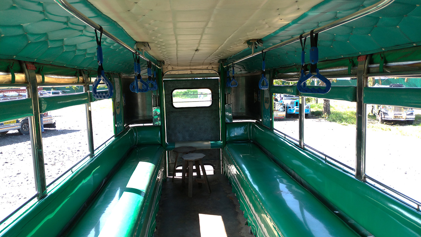INTERIOR. The rehabilitated jeep has a higher ceiling than the conventional jeepney, and has handrails as well. Photo by Mavic Conde/Rappler