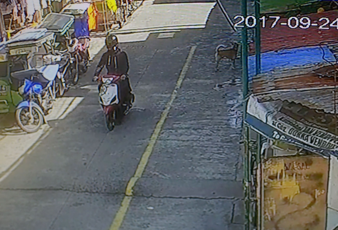 THE GUNMAN. This is the person who kept on shooting at the innocent Jayross even after an uncle shouted he was making a mistake. Neighbors believe the assassin was after Gary Alandra, a 30-something neighbor who is on the barangay drug watch list. Screen grab from the CCTV of Barangay 103, Pasay City