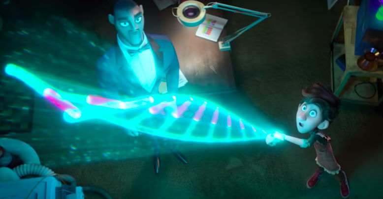 GENIUS. Walter (voiced by Tom Holland) shows his gadgets to Lance.