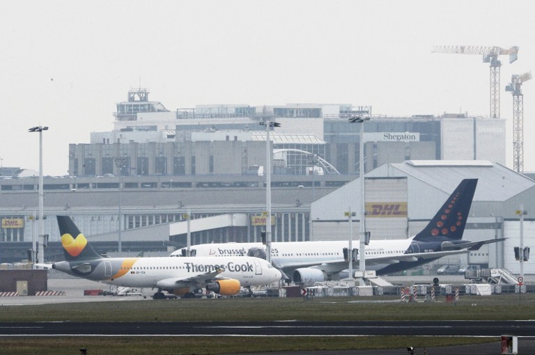 STANDSTILL. A photo taken on March 22, 2016 shows Brussels Airport, in Zaventem, after two explosions rocked the main hall of the airport. Belga news agency/AFP