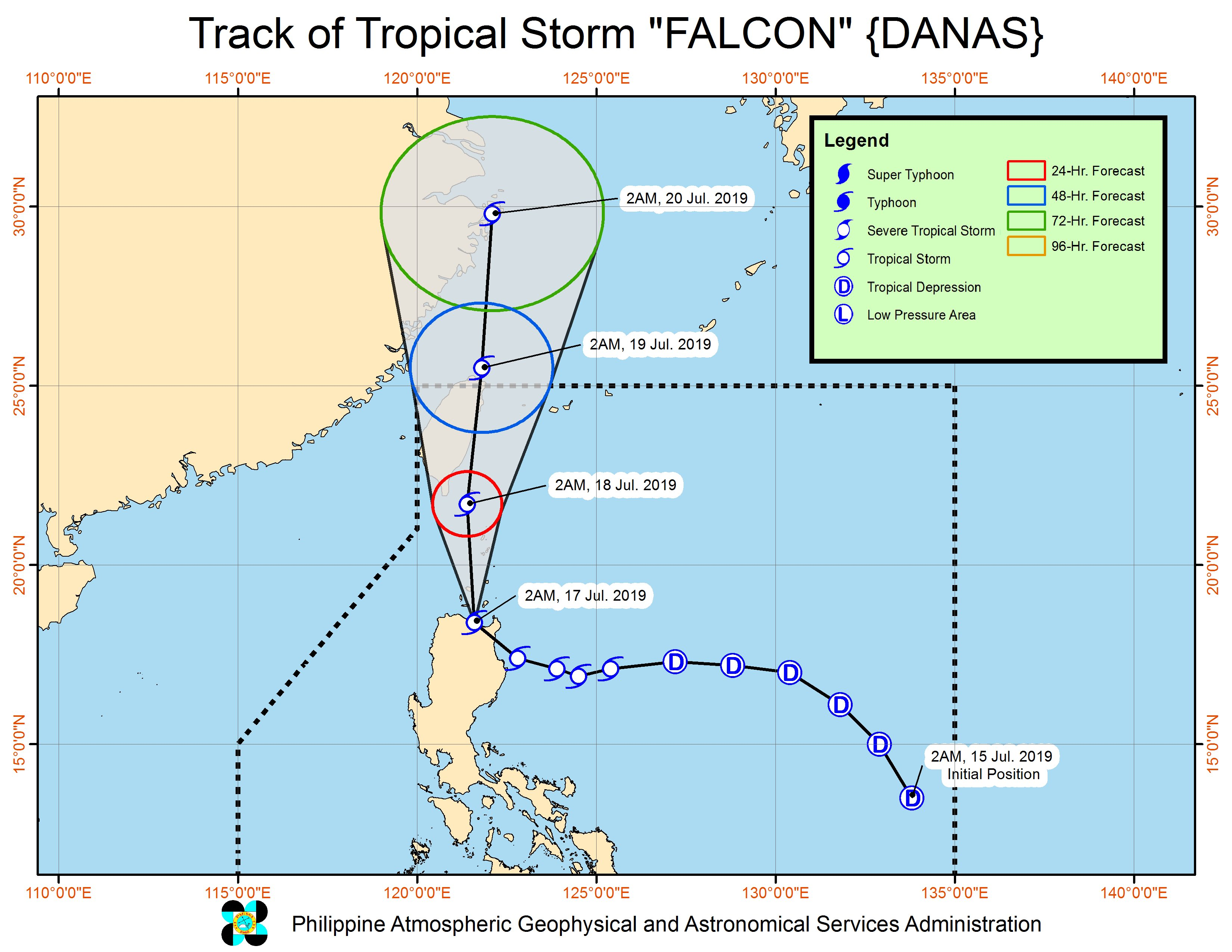 Forecast track of Tropical Storm Falcon (Danas) as of July 17, 2019, 5 am. Image from PAGASA