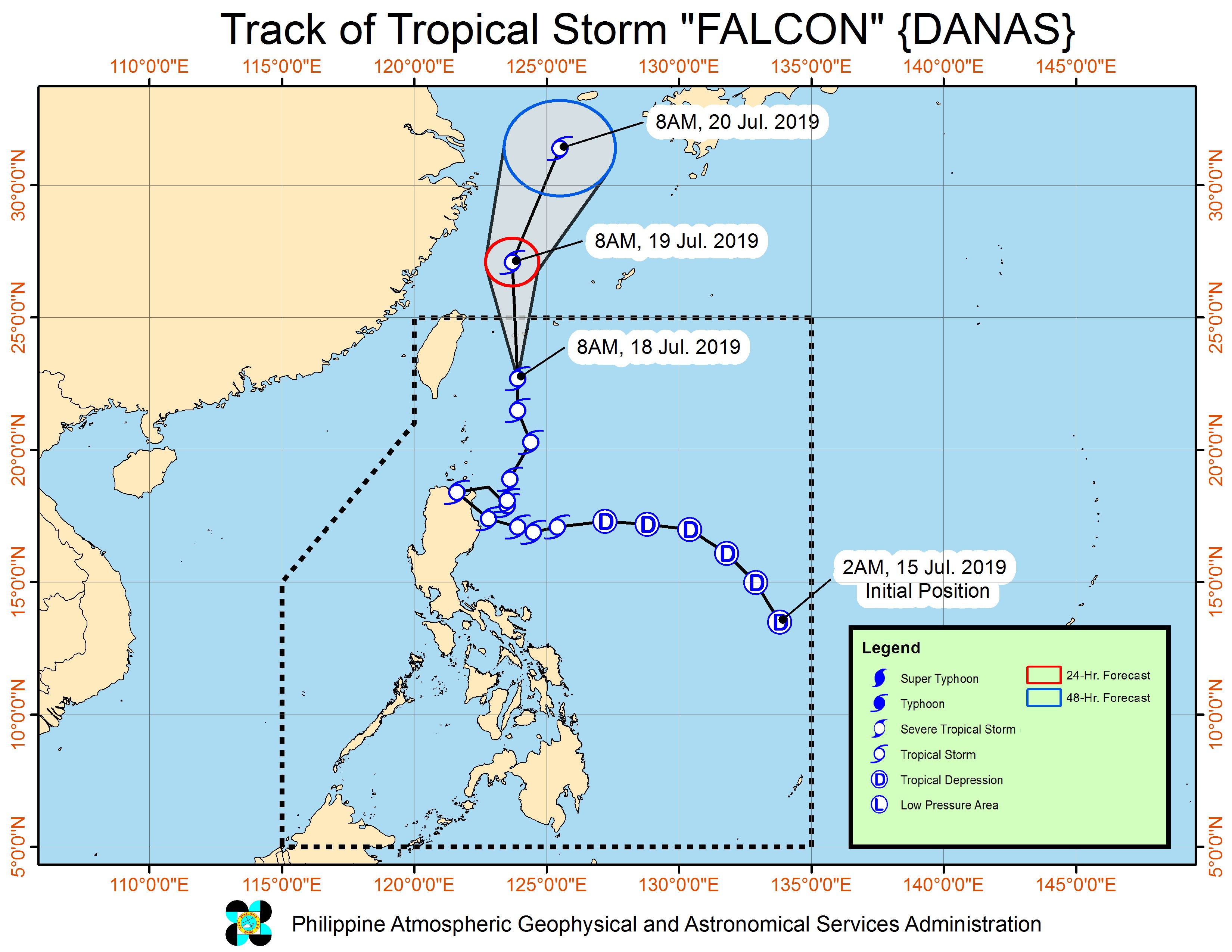 Forecast track of Tropical Storm Falcon (Danas) as of July 18, 2019, 11 am. Image from PAGASA