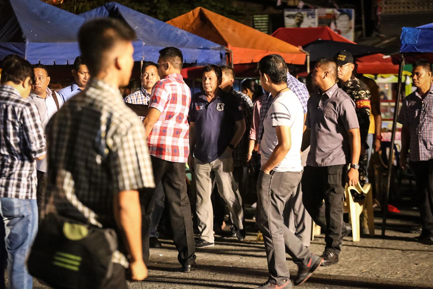 ON HIS FEET. President Duterte arriving at the blast site before 5 am, September 3.