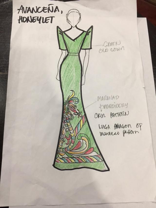 'RECYCLED.' Honeylet Avanceu00f1a asks Chardin designer Aris Estarilla to add designs to an old gown