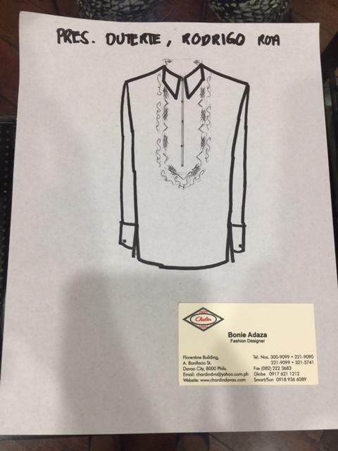 PRESIDENTIAL BARONG. Chardin designer Bonie Adaza designs a new barong for President Duterte for SONA 2017