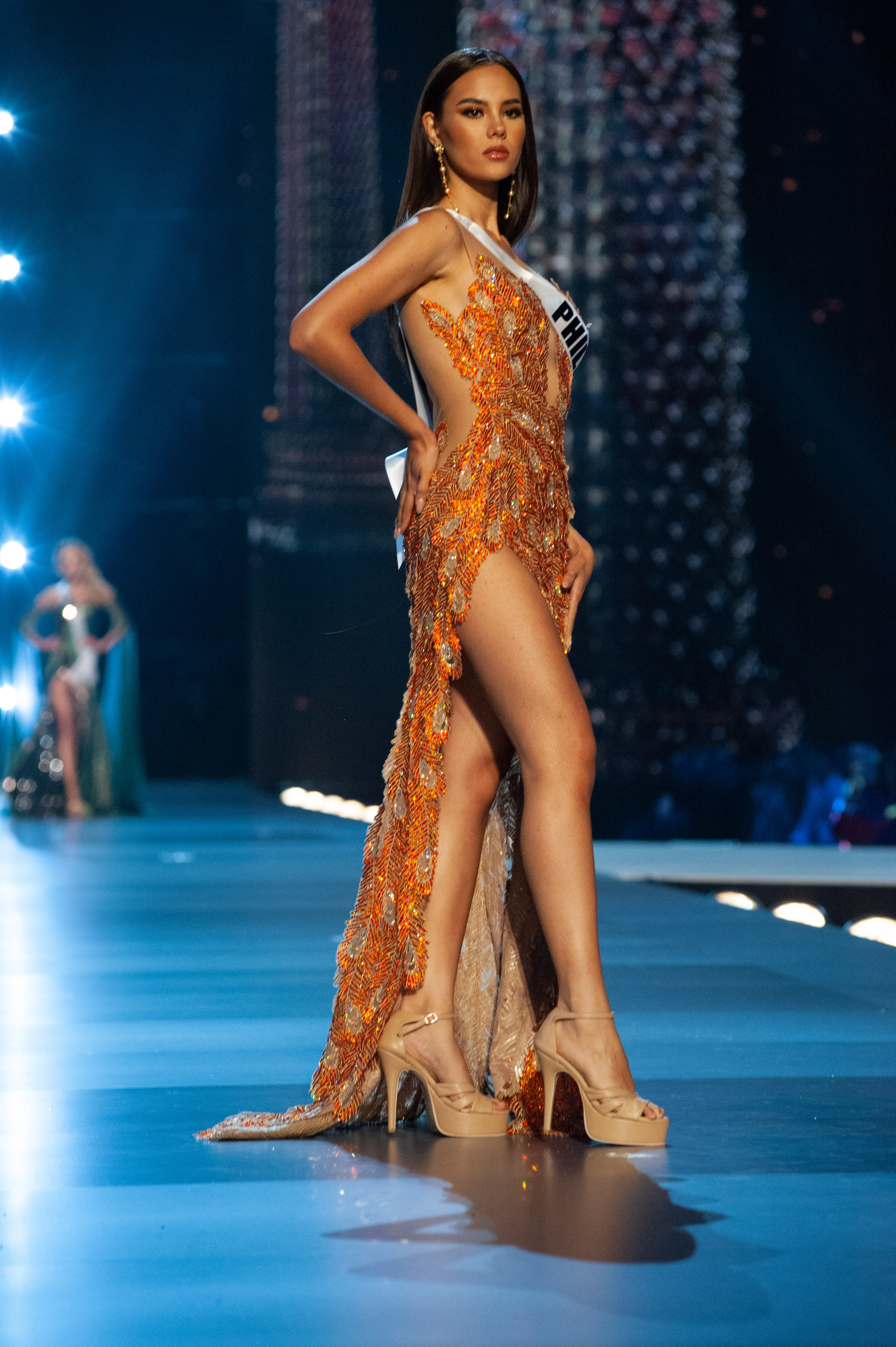 Catriona Gray, Miss Philippines 2018 competes on stage in her evening gown during the MISS UNIVERSE Preliminary Competition at IMPACT Arena in Bangkok, Thailand on Thursday, December 13th. Photo from  Patrick Prather/The Miss Universe Organization