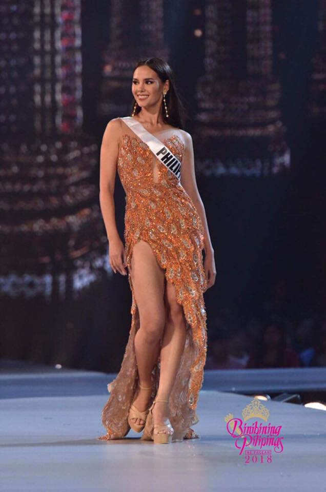 SLAY. Catriona Gray wears Mak Tumang's 'Ibon Adarna' inspired gown during the preliminary competition. Photo from Bruce Cassanova/Bb Pilipinas