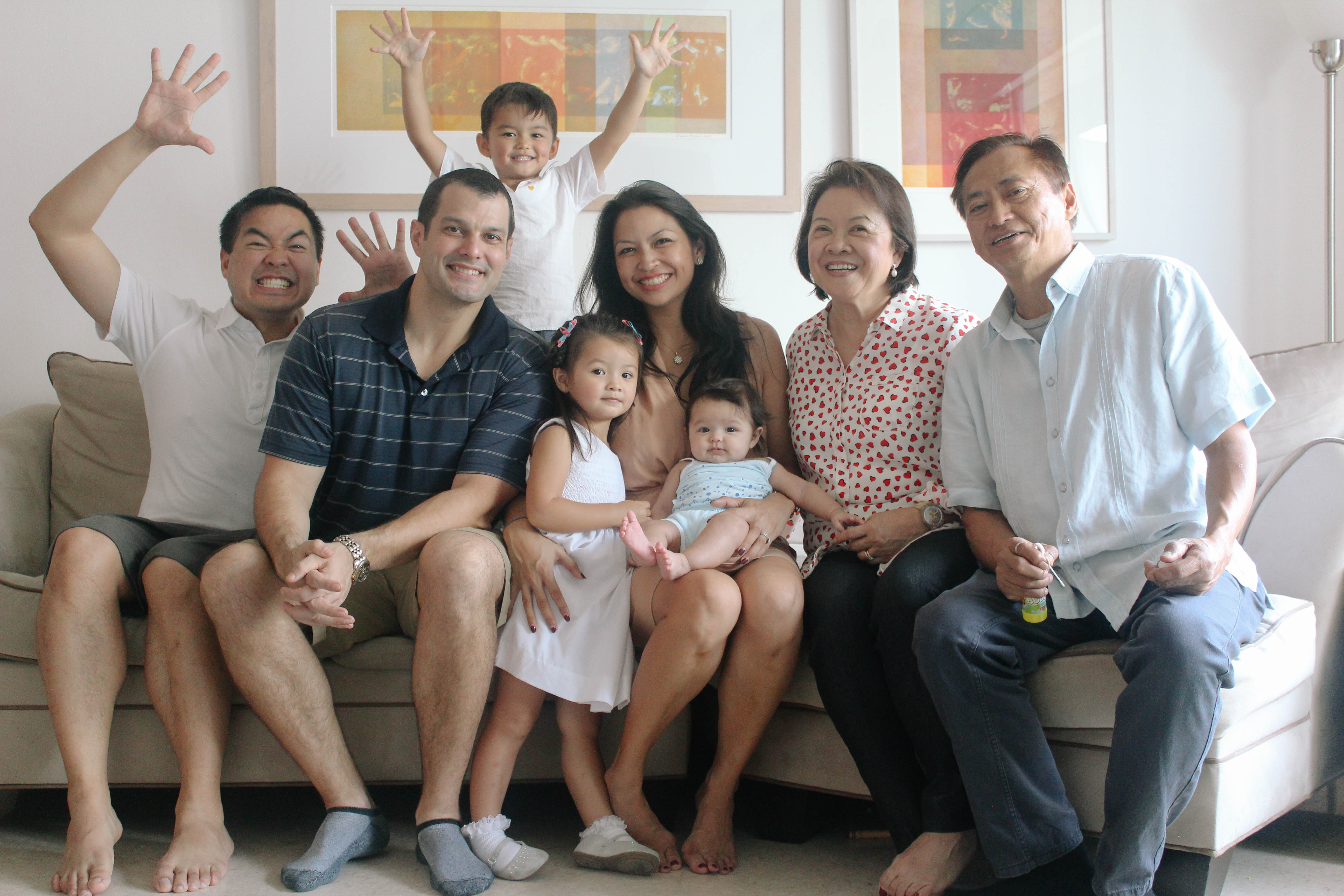 Claire's brother Justin, husband Alex, son Carlos, daughters Isa And Sofia, and parents Lenore and Jose. All photos provided by Nina Terol