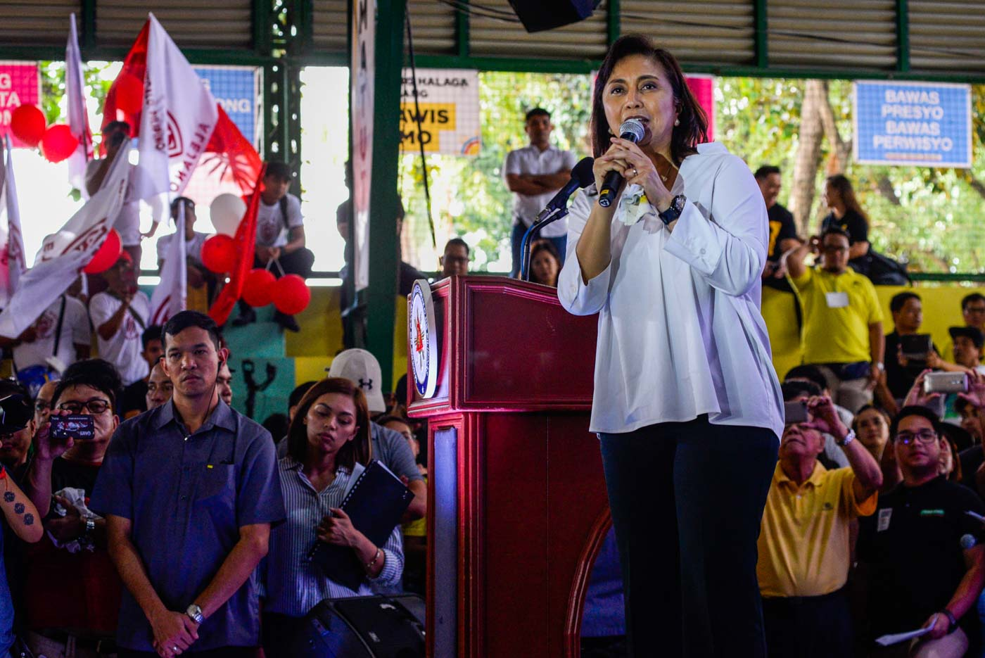 OPPOSITION COALITION. Vice President Leni Robredo delivers the closing speech during the presentation of the Opposition Coalition's senatorial slate. Photo by Maria Tan/Rappler