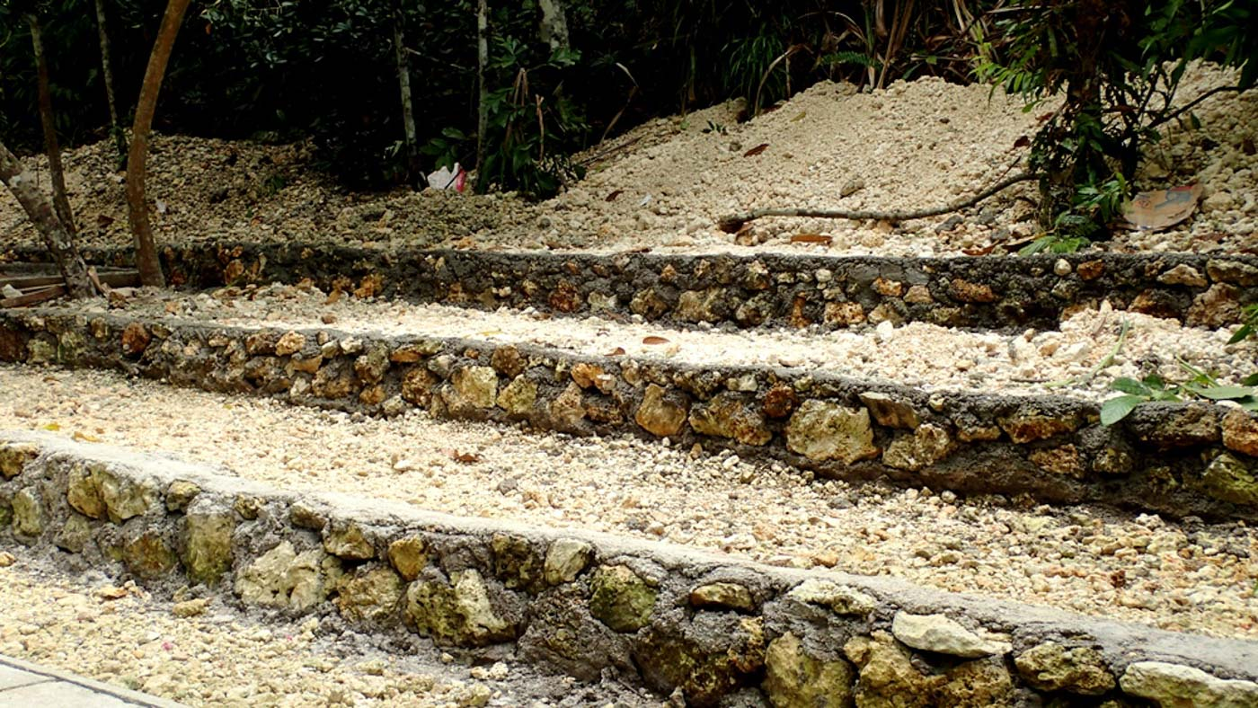 LIMESTONE LANDSCAPING. The collected limestone is used for landscaping the area around the river. Photo by Claire Madarang/Rappler
