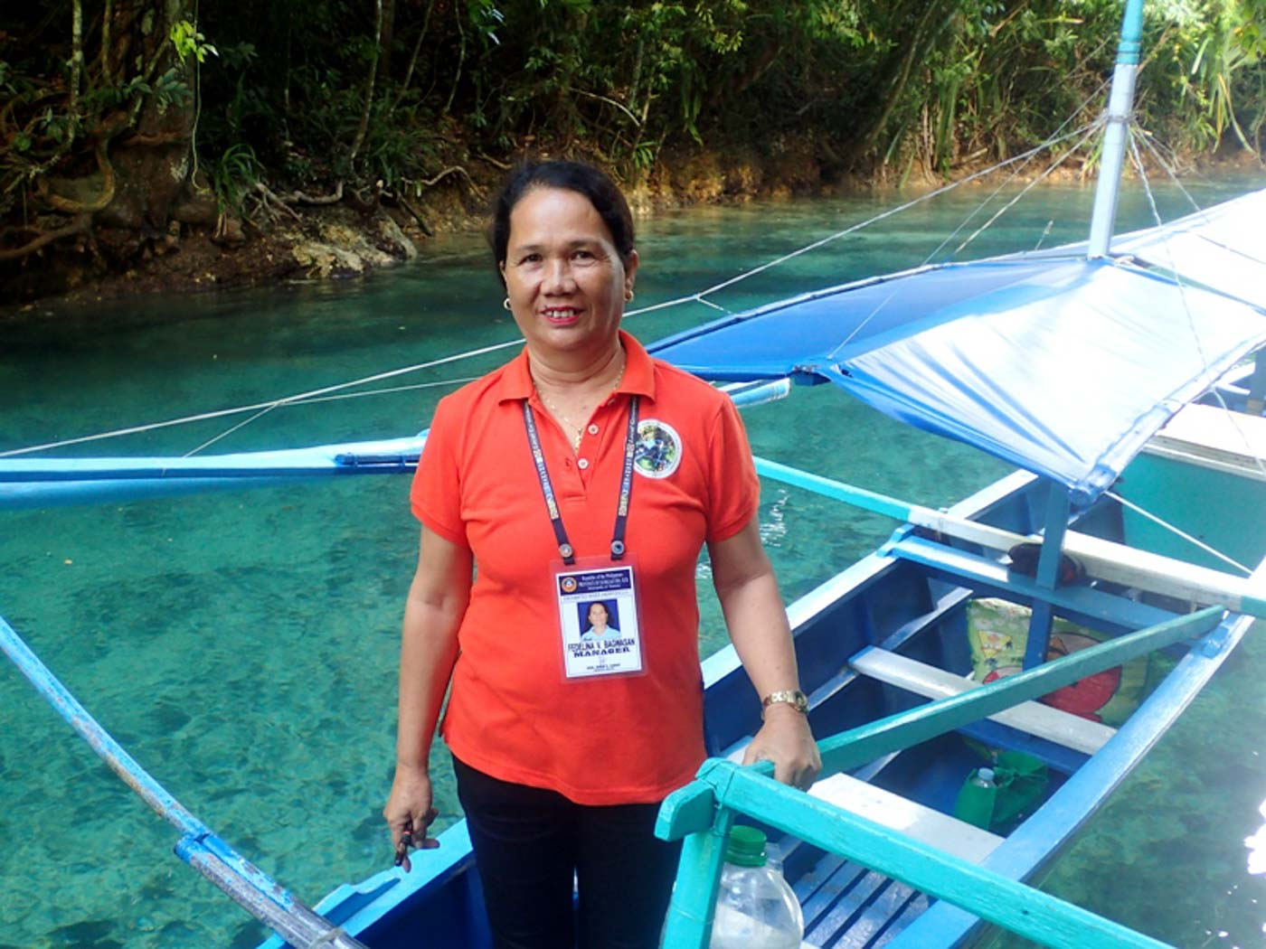 PUMP BOAT OPERATIONS. During river closure, the pump boat operators diverted the tourists to island hopping destinations near the river, according to local cooperative'ss head Fedelina Bagwasan. Photo by Claire Madarang/Rappler