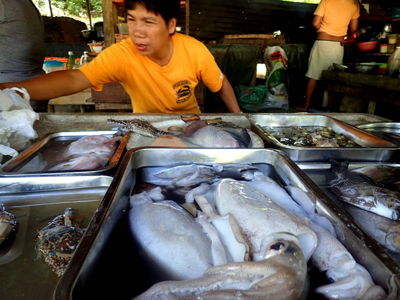 WET MARKET. At the new ticketing and dining area, downhill is the wet market where fresh catch for cooking is sold. Photo by Claire Madarang/Rappler