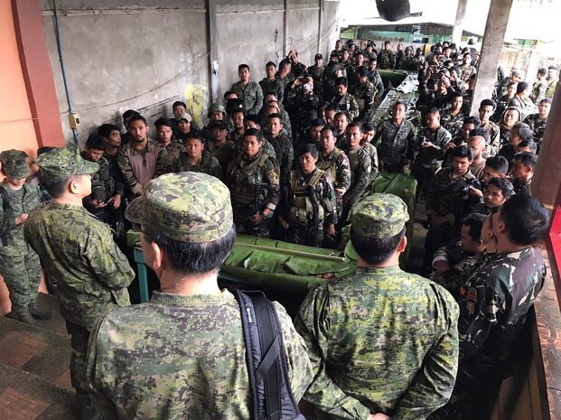 MAIN BATTLE AREA. AFP chief General Eduardo Au00f1o visits the main battle area in Marawi City. Photo from JTF Marawi