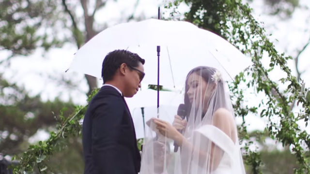 FOREVER. Sitti recites her vows to husband Joey Ramirez during their wedding in Baguio. Screengrab from YouTube