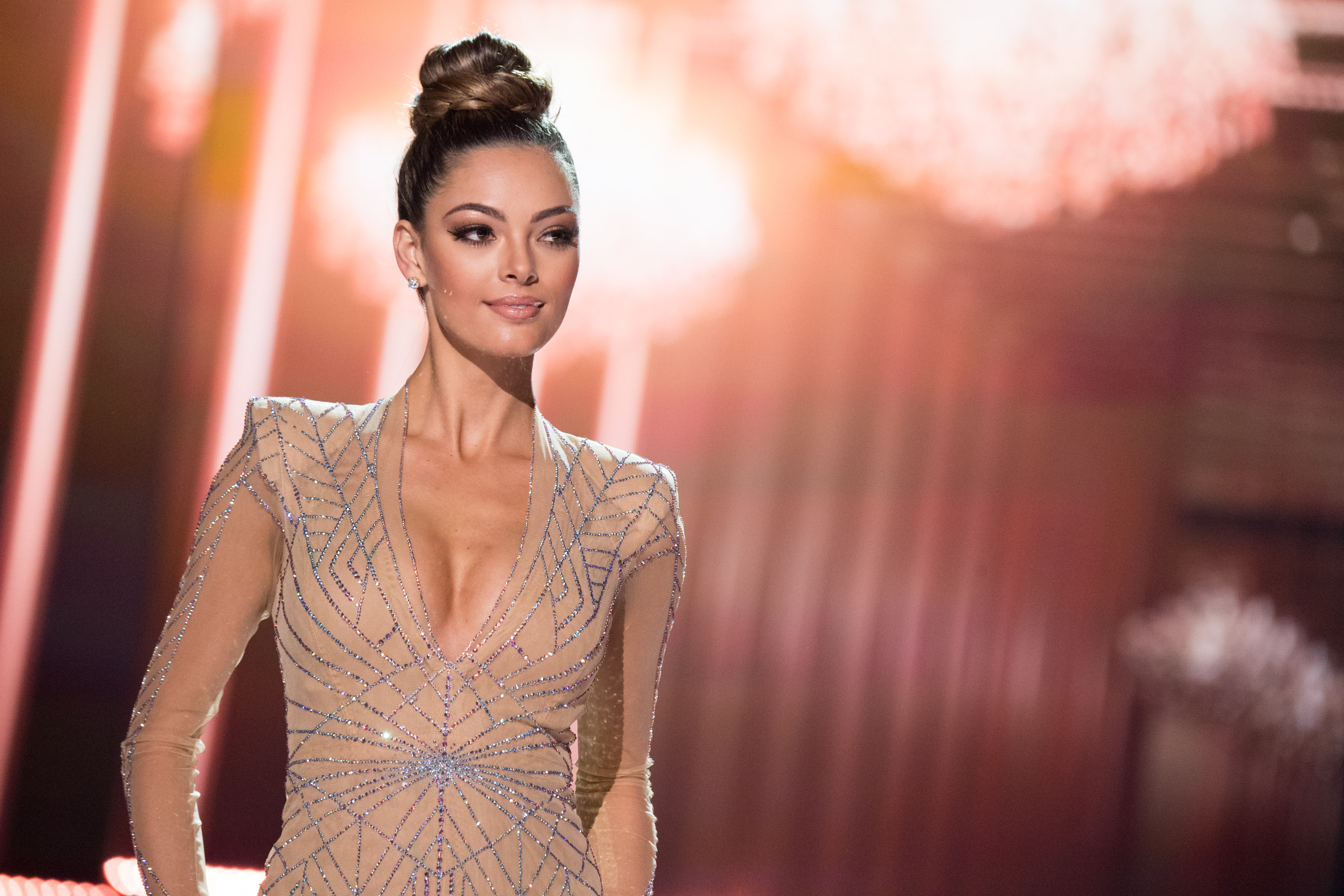 Demi-Leigh Nel-Peters in her evening gown at the Miss Universe pageant. Photo from the Miss Universe Organization