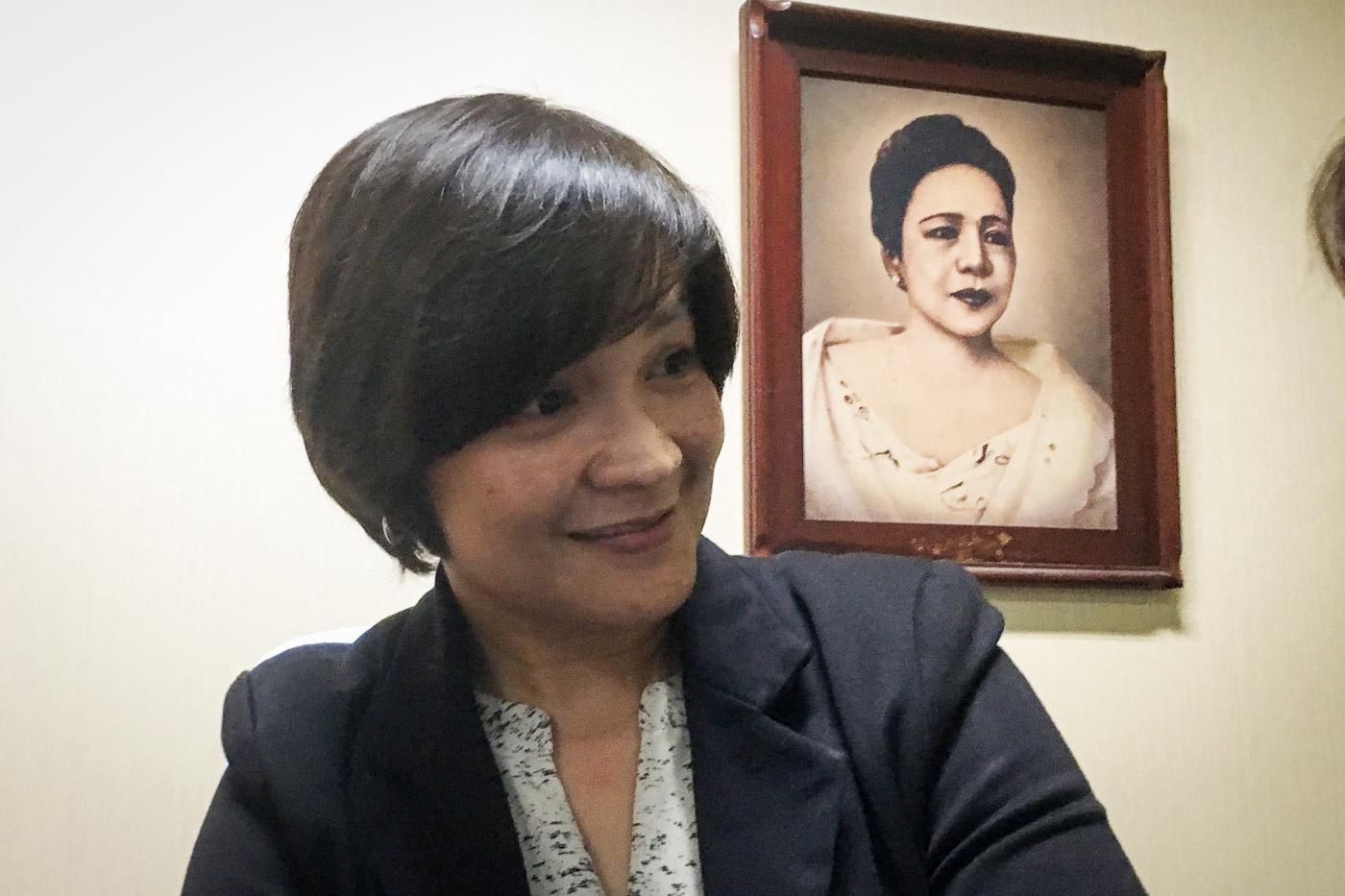 FAMILY. Senator Trillanes' wife Arlene in the Senate. Photo by Camille Elemia/Rappler