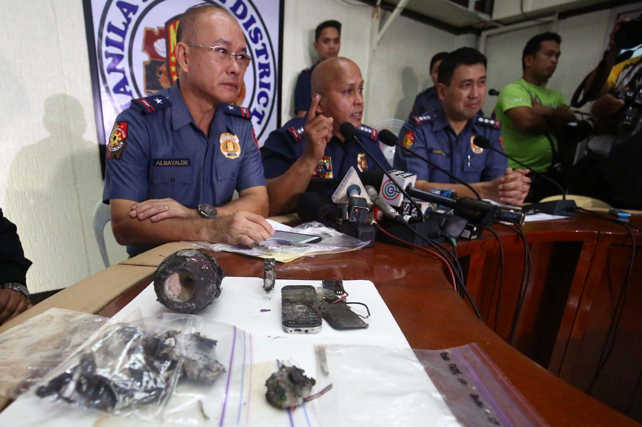 PNP chief Dir. Gen. Ronald 'Bato' Dela Rosa holds a press conference at the Manila Police District headquarters regarding an improvised explosive device found near the US Embassy in Manila , November 28, 2016. Ben Nabong/Rappler