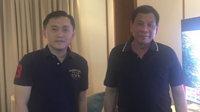 'NOT ILL.' President Rodrigo Duterte poses for a photo with Special Assistant to the President Bong Go. Photo courtesy of Go