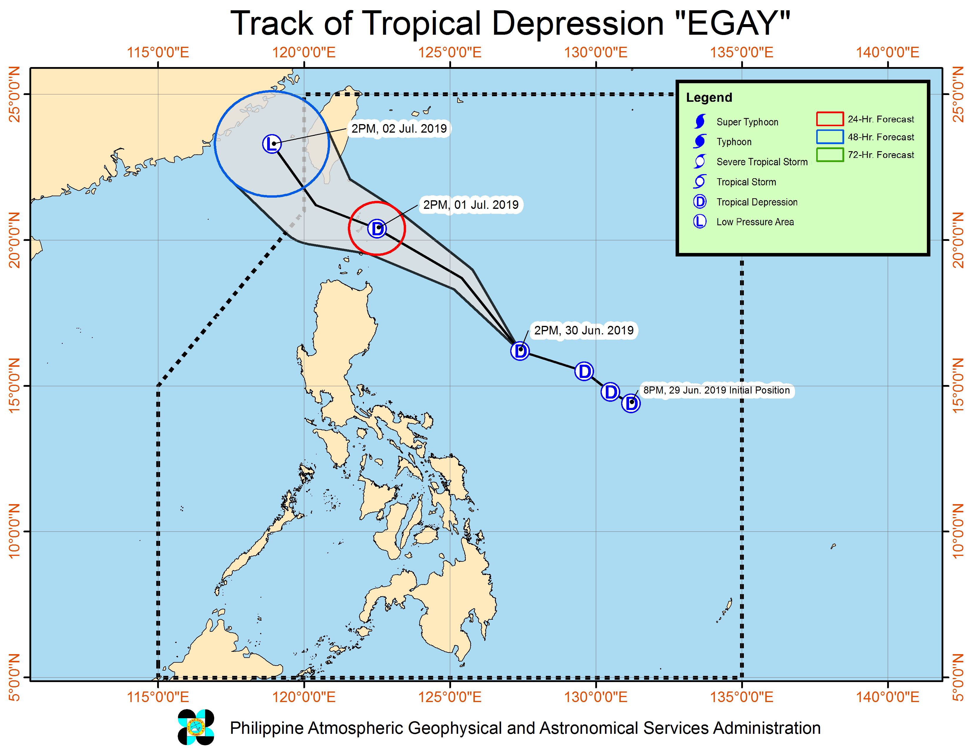 Forecast track of Tropical Depression Egay as of June 30, 2019, 5 pm. Image from PAGASA