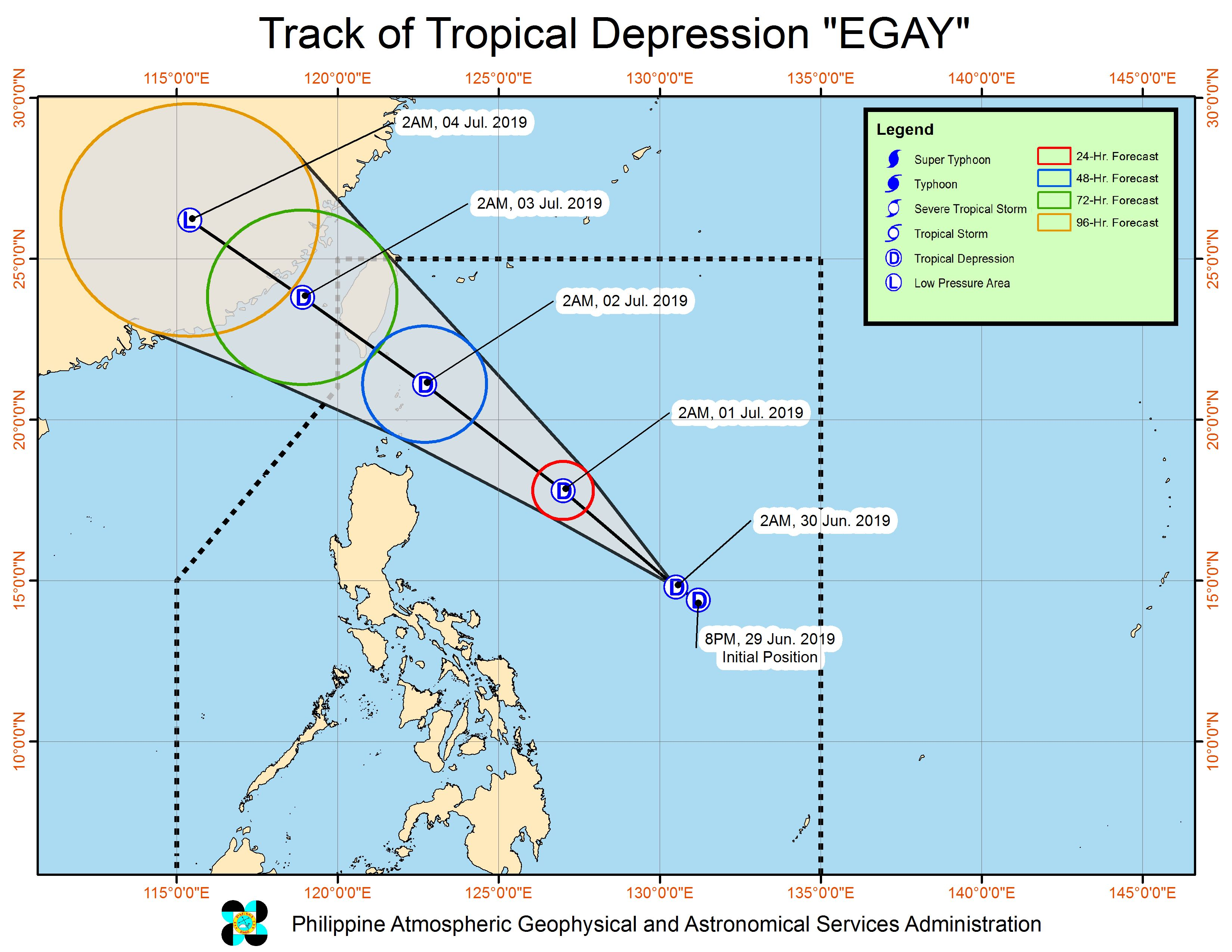 Forecast track of Tropical Depression Egay as of June 30, 2019, 5 am. Image from PAGASA