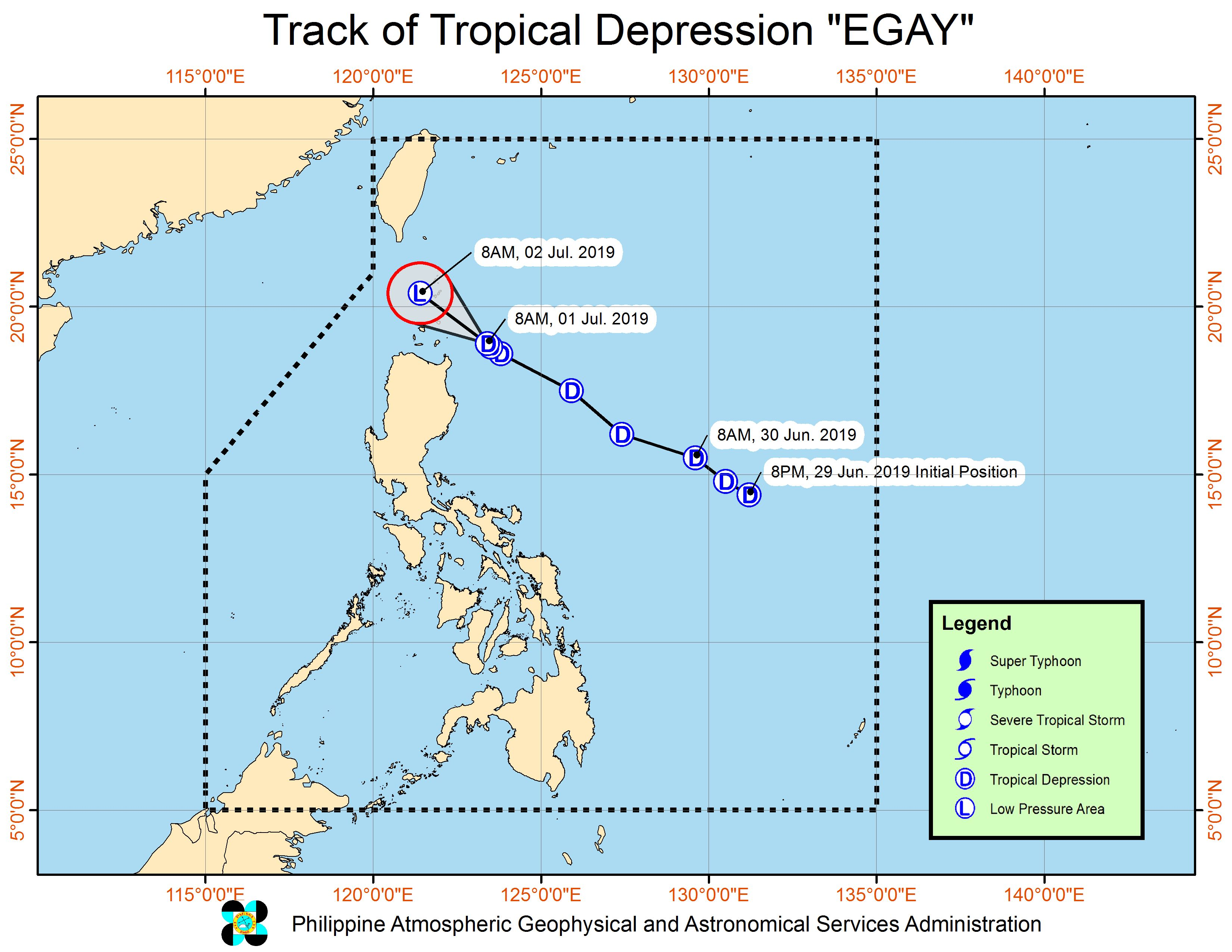 Forecast track of Tropical Depression Egay as of July 1, 2019, 11 am. Image from PAGASA