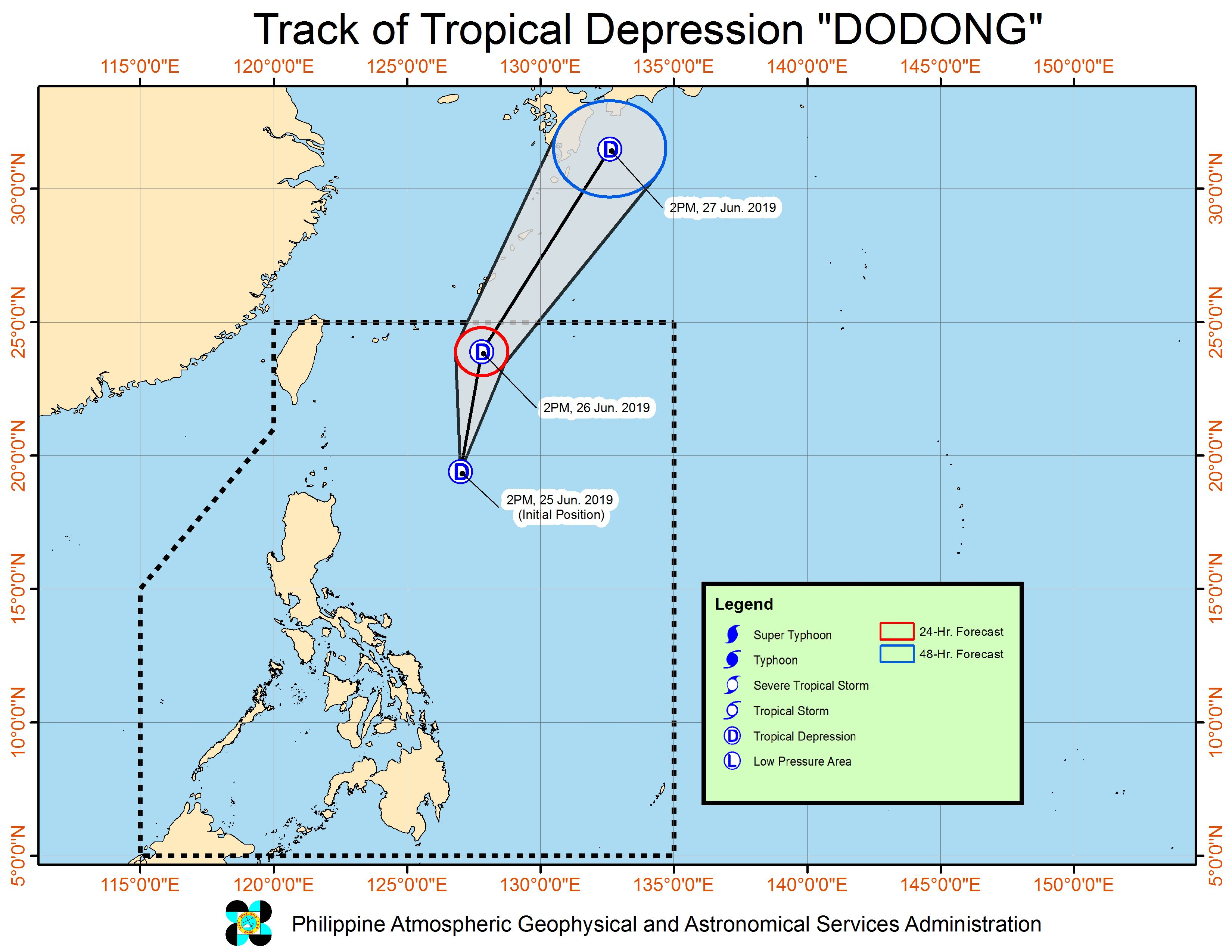 Forecast track of Tropical Depression Dodong as of June 25, 2019, 5 pm. Image from PAGASA