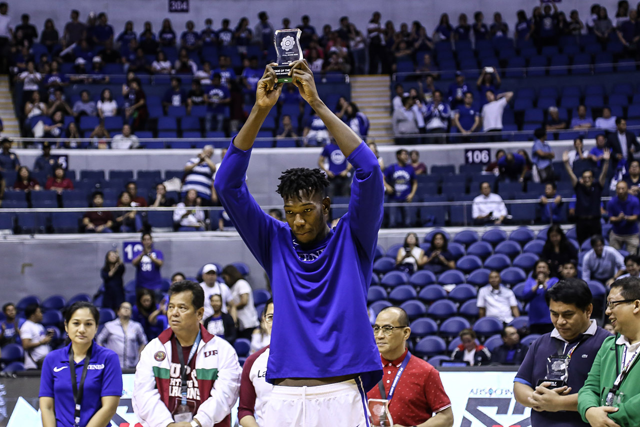 ROOKIE SENSATION. Ateneou2019s Angelo Kouame bags the Rookie of the Year plum in a season that saw several standout freshmen. Photo byMichael Gatpandan/Rappler