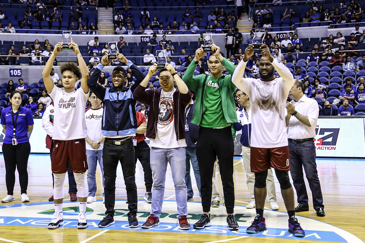 BEST FIVE. UPu2019s Bright Akhuetie (right) leads the Mythical Team composed of (from left) teammate Juan Gomez de Liau00f1o, Adamsonu2019s Jerrick Ahanmisi, UEu2019s Alvin Pasaol, and La Salleu2019s Justine Baltazar. Photo by Michael Gatpandan/Rappler