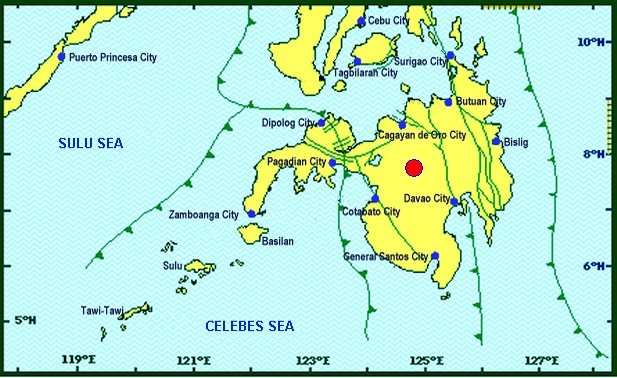 EPICENTER. The earthquake measured magnitude 6.0, Phivolcs says. Map from Phivolcs