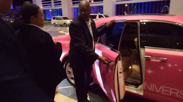 The pink car is provided by FrontRow, the company that bought the candidates to Manila for the visit, together with the Department of Tourism