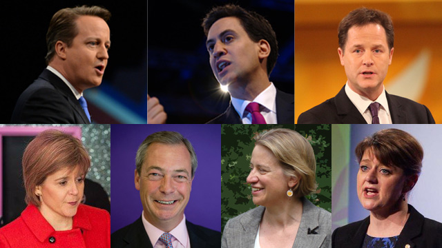 THE CONTENDERSu003e (Clockwise, from top left) David Cameron (Conservative); Ed Milliband (Labour); Nick Clegg (Liberal Democrats); Leanne Wood (Plaid Cymru); Natalie Bennett (Greens); Nigel Farage (UKIP); Nicola Sturgeon (SNP). Images courtesy candidates' official Facebook pages