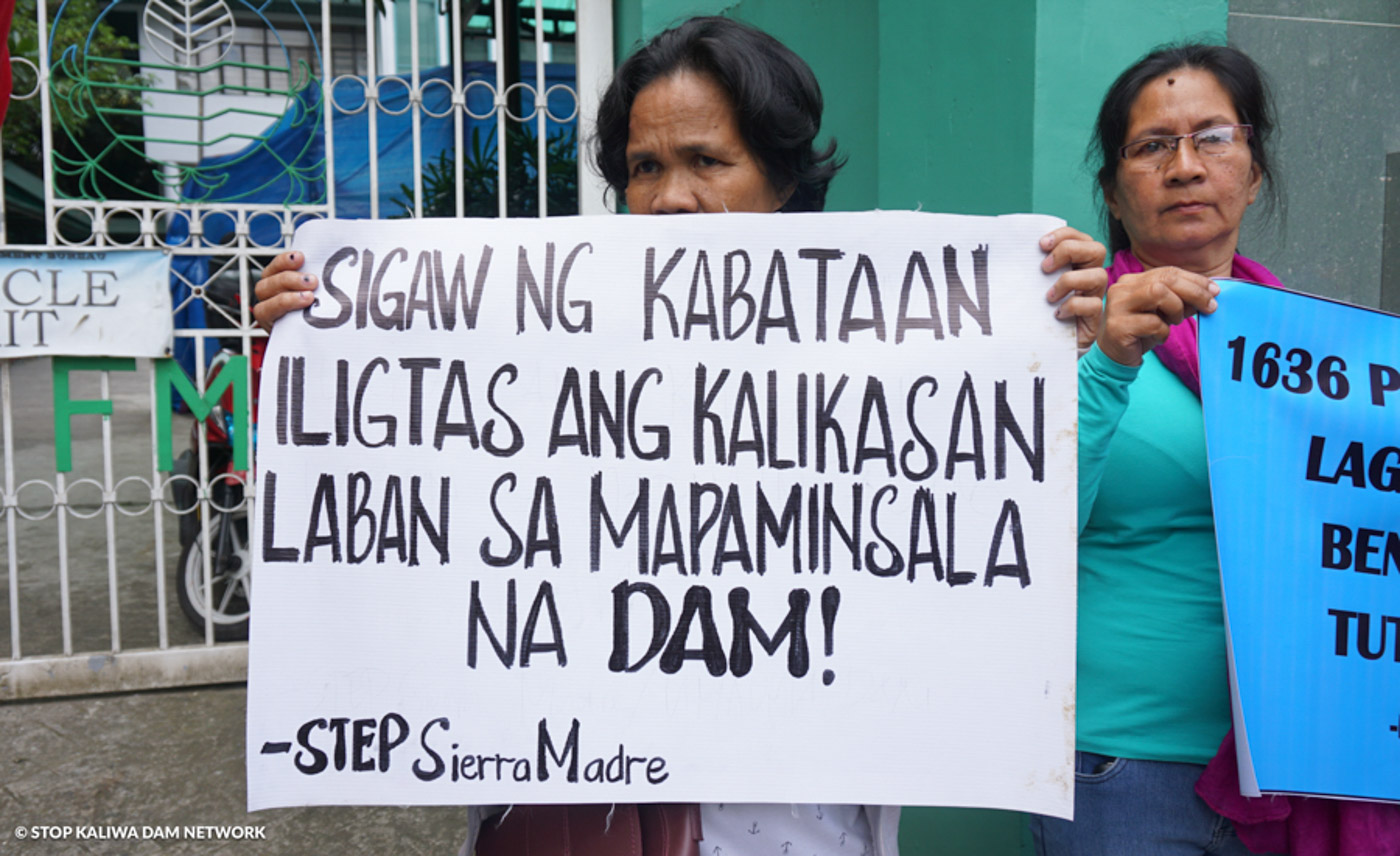 OPPOSING THE KALIWA DAM PROJECT. Protest of the groups opposing the Kaliwa Dam project in front of DENR office. Photo courtesy of Stop Kaliwa Dam Network