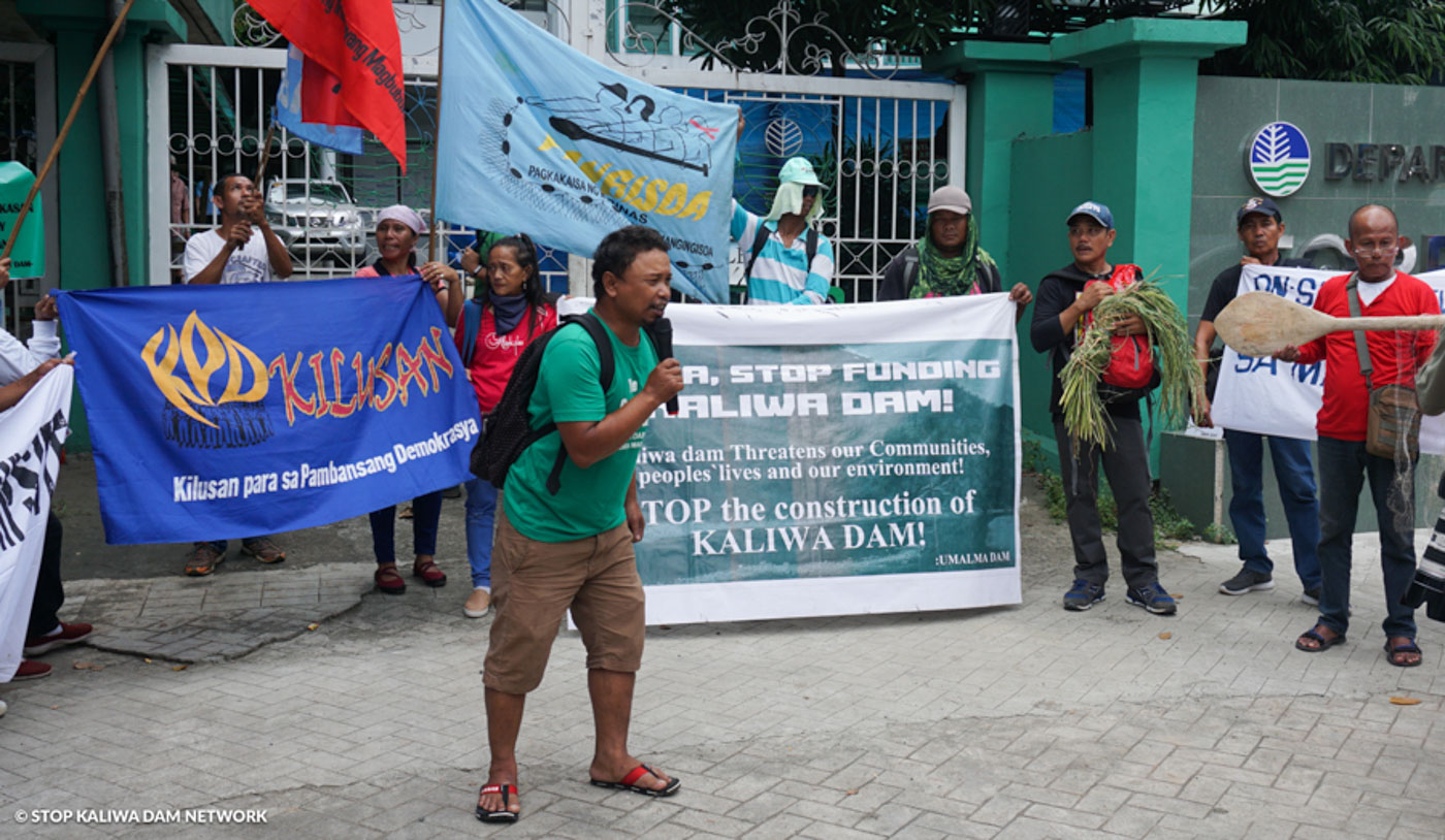 PROTEST. A protest opposing the Kaliwa Dam project in front of DENR office on October 16, 2019. Photo courtesy of Stop Kaliwa Dam Network