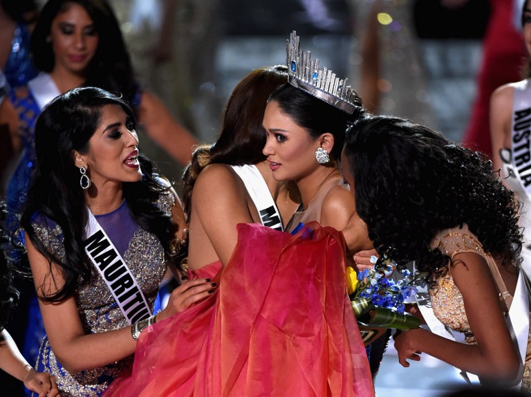 SHOCK. Pia wins the Miss Universe 2015 crown after an initial mix-up. Photo by Ethan Miller/Getty Images/AFP