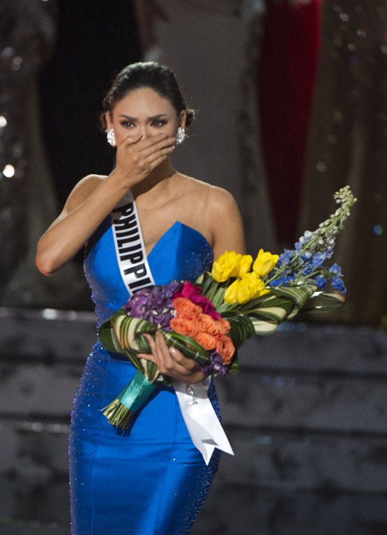STUNNED. Miss Philippines Pia Alonzo Wurtzbach reacts to the announcement establishing her as Miss Universe 2015 on stage during the 2015 MISS UNIVERSEu00a8 Show at Planet Hollywood Resort u0026 Casino, in Las Vegas, California, on December 20, 2015. Miss Philippines was named Miss Universe, but in a drama-filled turn worthy of a telenovela. The pageant's host comedian Steve Harvey, also a talk show host, misread the card which he said had Miss Colombia Ariadna Gutierrez as the winner. Photo by Valerie Macon/AFP