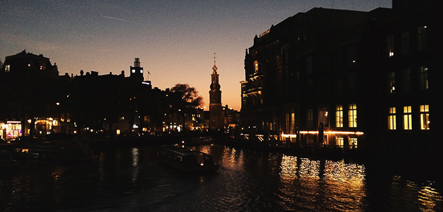 Night falls in Amsterdam