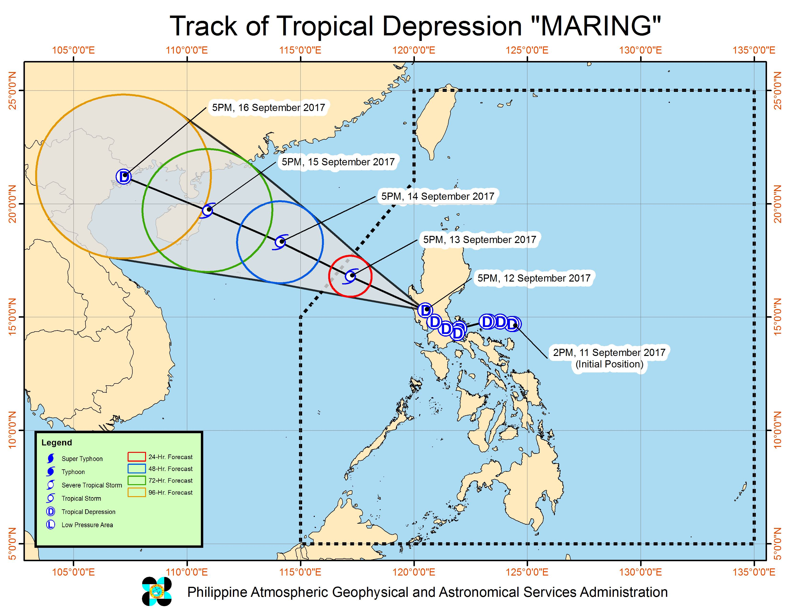 Forecast track of Tropical Depression Maring as of September 12, 8 pm. Image courtesy of PAGASA
