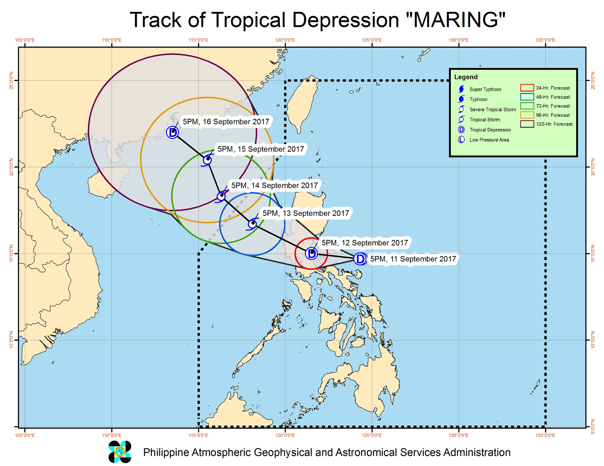 Forecast track of Tropical Depression Maring as of September 11, 8 pm. Image courtesy of PAGASA