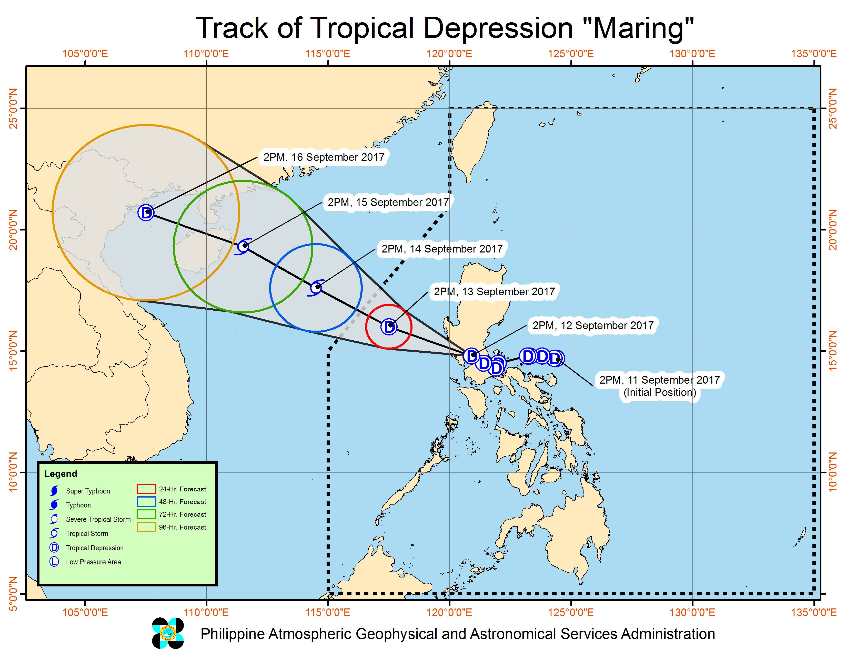 Forecast track of Tropical Depression Maring as of September 12, 5 pm. Image courtesy of PAGASA
