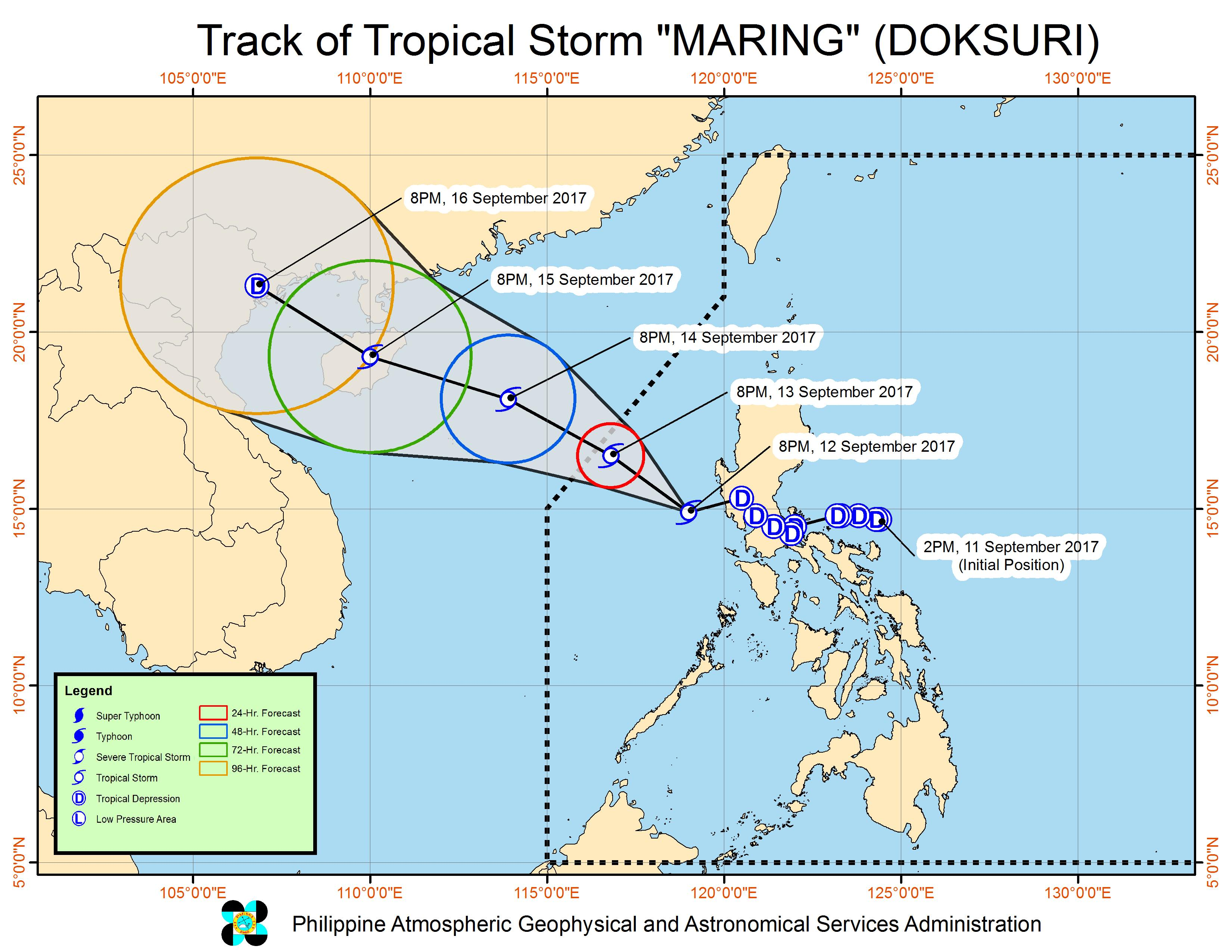 Forecast track of Tropical Storm Maring as of September 12, 11 pm. Image courtesy of PAGASA