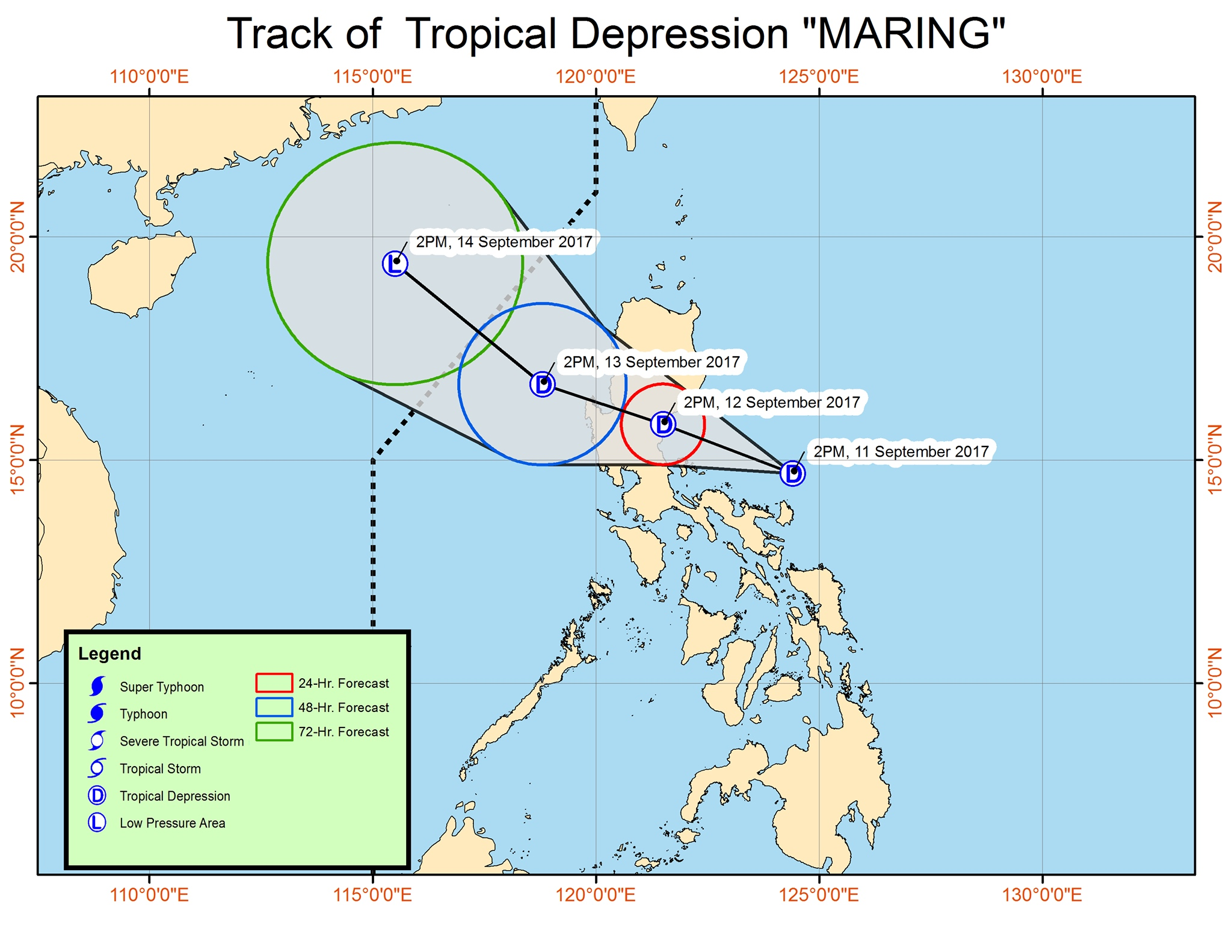 Forecast track of Tropical Depression Maring as of September 11, 5 pm. Image courtesy of PAGASA