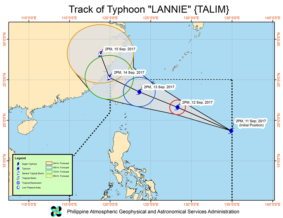 Forecast track of Typhoon Lannie as of September 11, 5 pm. Image courtesy of PAGASA