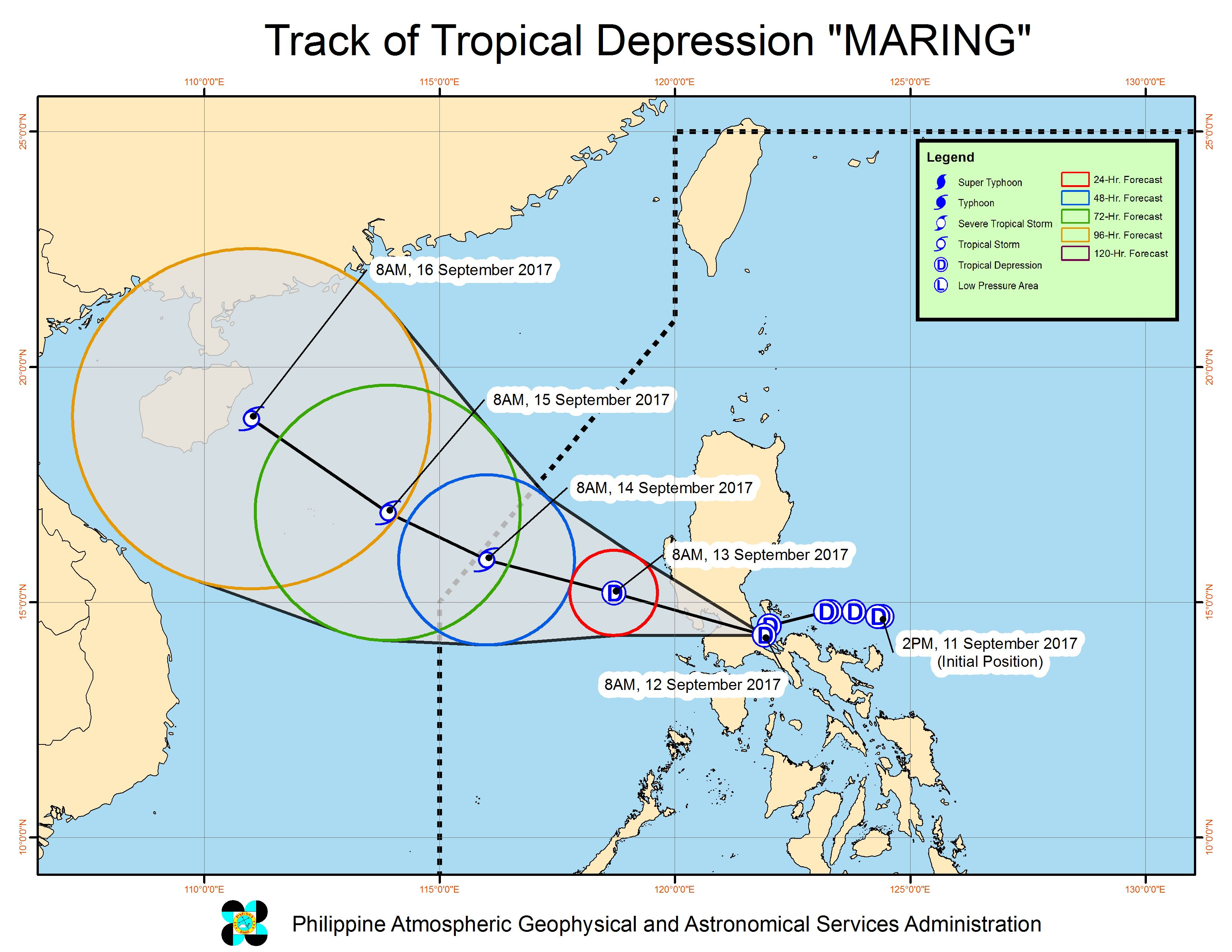 Forecast track of Tropical Depression Maring as of September 12, 11 am. Image courtesy of PAGASA