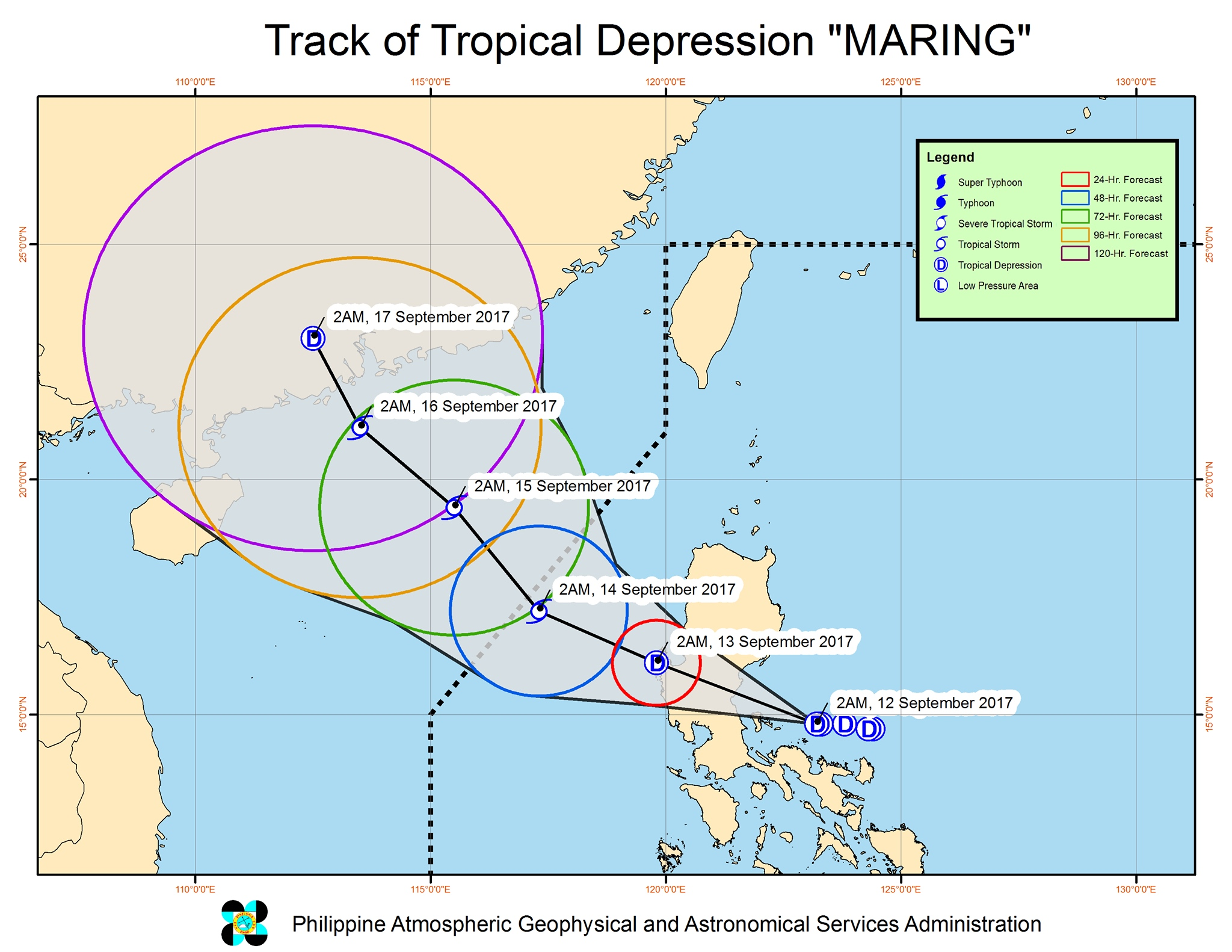 Forecast track of Tropical Depression Maring as of September 12, 5 am. Image courtesy of PAGASA